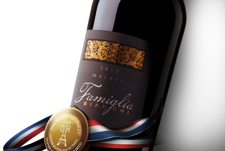 Famiglia Bianchi Malbec bottle with Vinalies Internationales gold medal